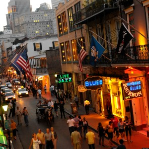 Nightlife on Bourbon Street in the French Quarter of New Orleans in Louisiana in the United States of America